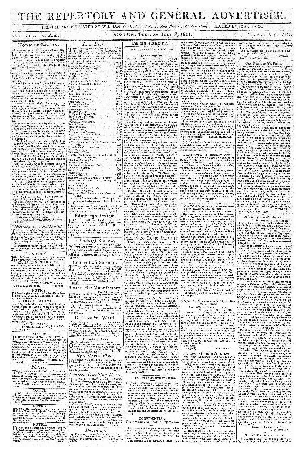 The Repertory and general advertiser - page 1
