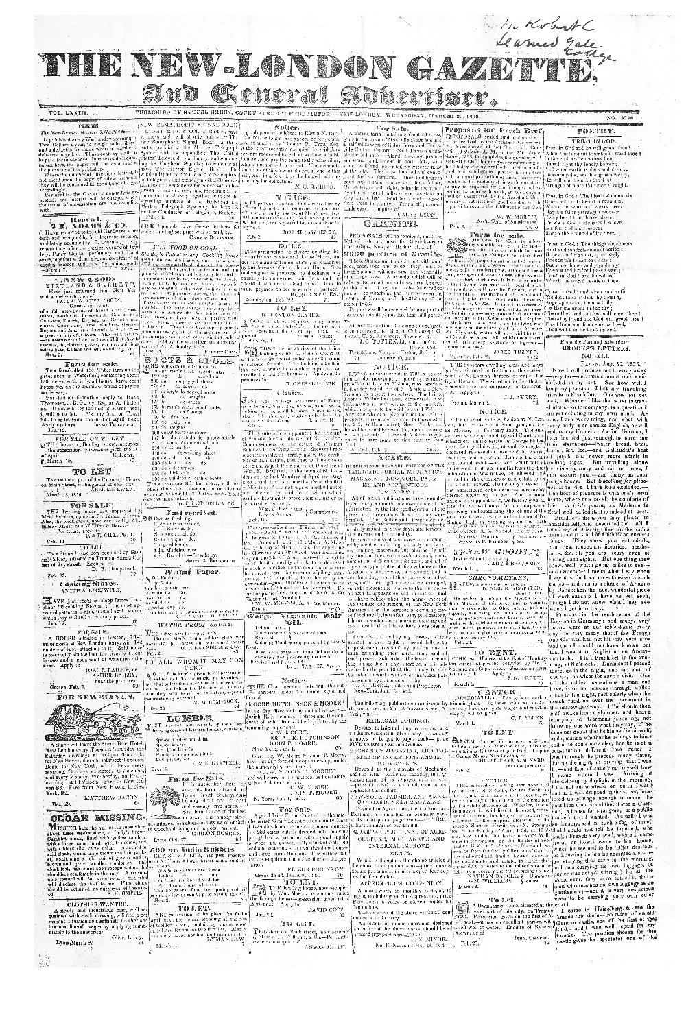 The New-London gazette, and general advertiser - page 1