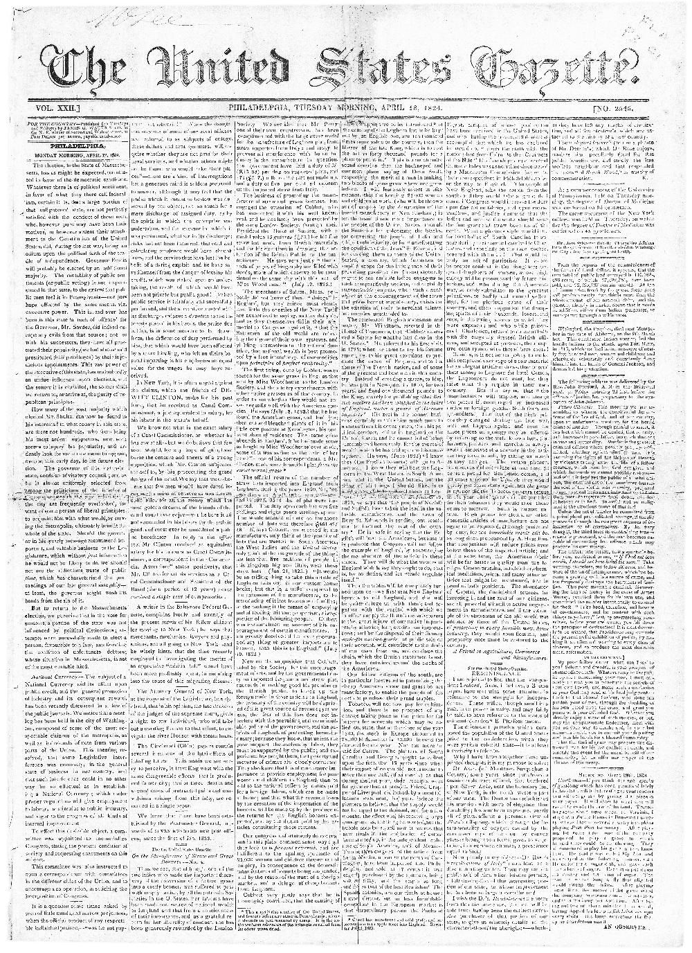 The United States gazette - page 1