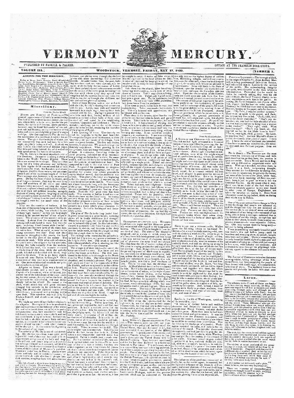 Vermont Mercury - page 1