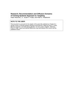 Research, recommendation and diffusion domains: a Farming Systems approach to targeting