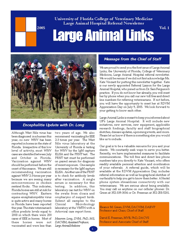 Large animal links: large animal hospital newsmagazine - Page 1
