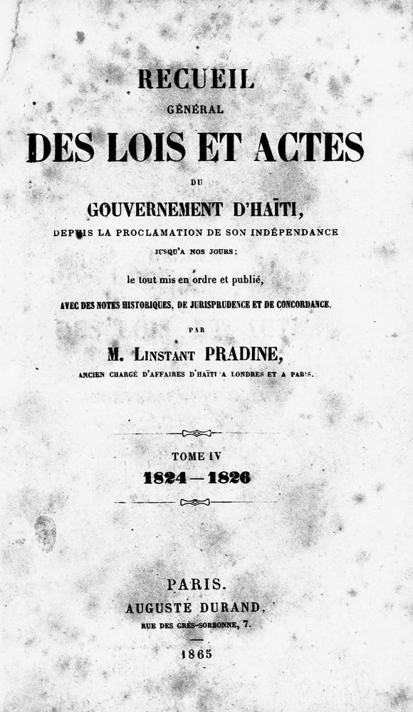 Recueil général des lois & actes du gouvernement d'Haiti - Title Page