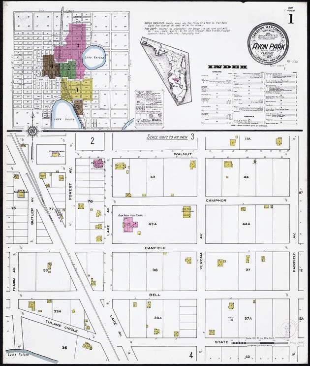 Insurance maps of Avon Park, Florida - Sheet 1