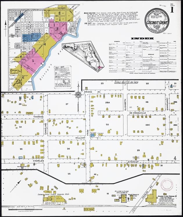 Insurance maps of Coconut Grove, Florida - Sheet 1