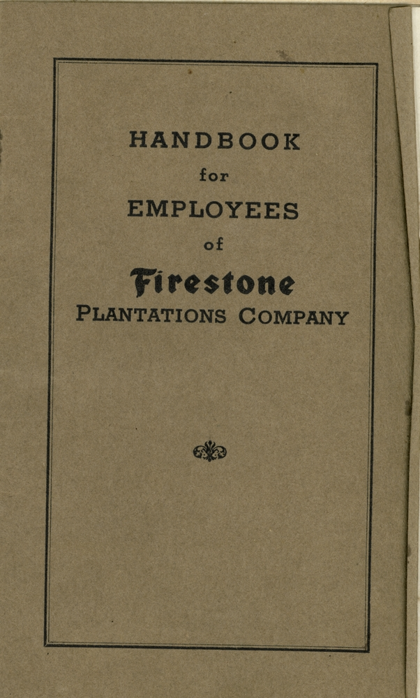 Handbook for Employees of Firestone Plantations Company. - Cover 1