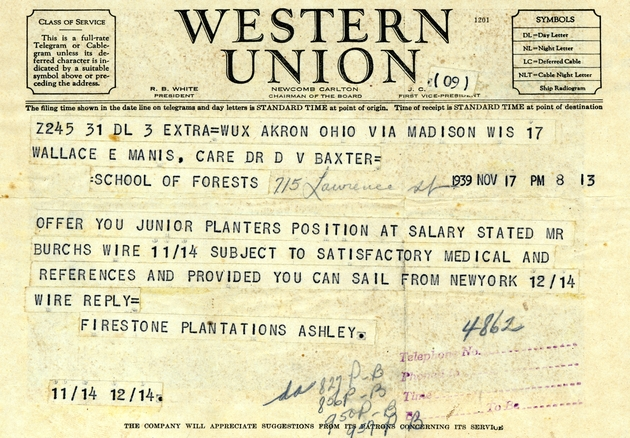 Western Union job offer telegram stamped Nov. 17, 1939.