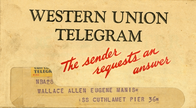 Telegram 1: personal note from Mother (Mrs. Elsa Magni). - Page 1