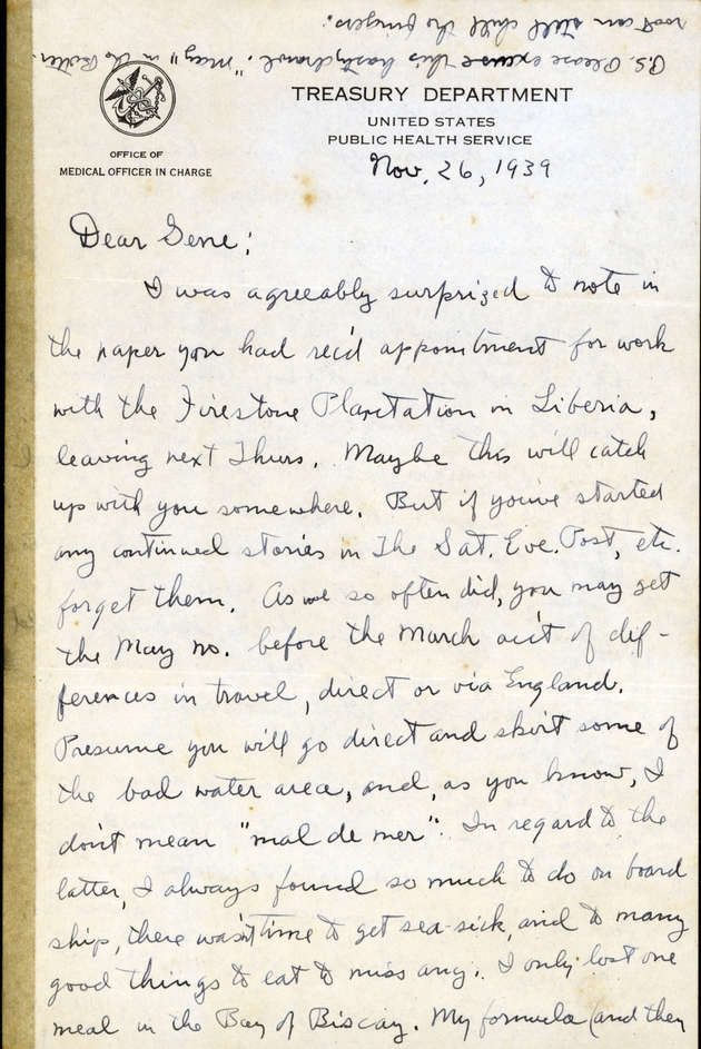 Personal ms. letter from Cornelius B. Philips on US Public Health Service letterhead. Nov. 26, 1939. - Page 1