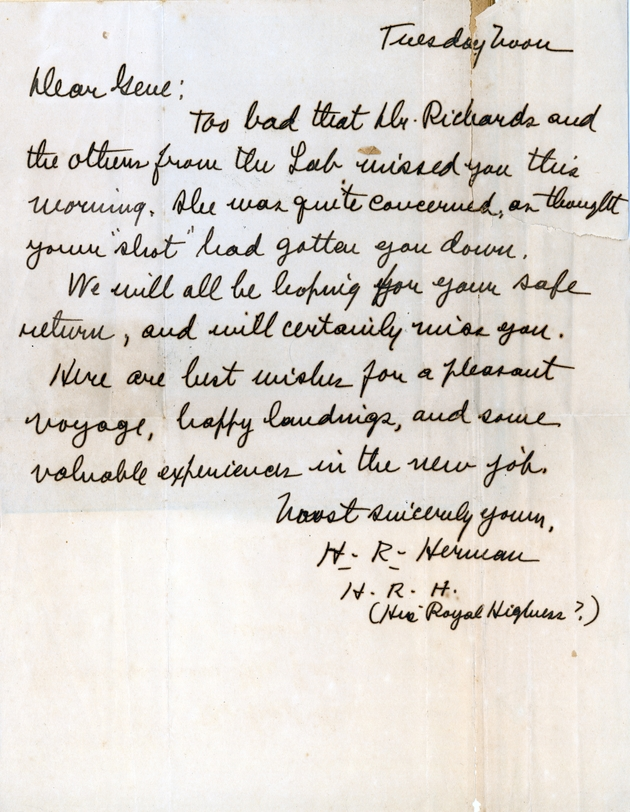 "Ms. letter from H.R. Herman dated ""Tuesday noon."""