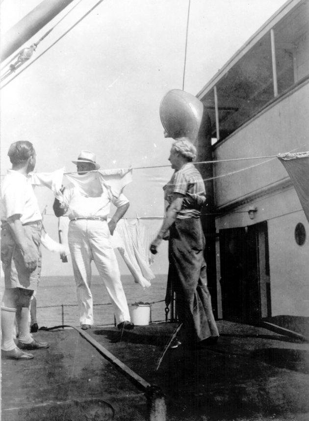 Photo: Three passengers on board S.S. Cathlamet.
