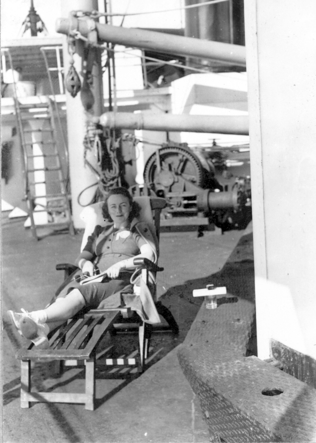 Photo: A passenger on board S.S. Cathlamet.