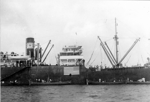 Photo: S.S. Cathlamet from shore or dock (lighters pulled alongside).