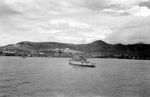 Photo: Ship arriving in port (taken from S.S. Cathlamet).