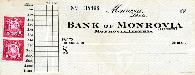 Bank of Monrovia check with Firestone watermark, 2 one cent revenue stamps.