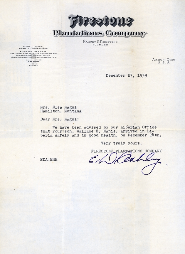 Typescript letter dated 12/27/1939 advising Mrs. Elsa Magni that her son arrived in Liberia on Dec. 24.