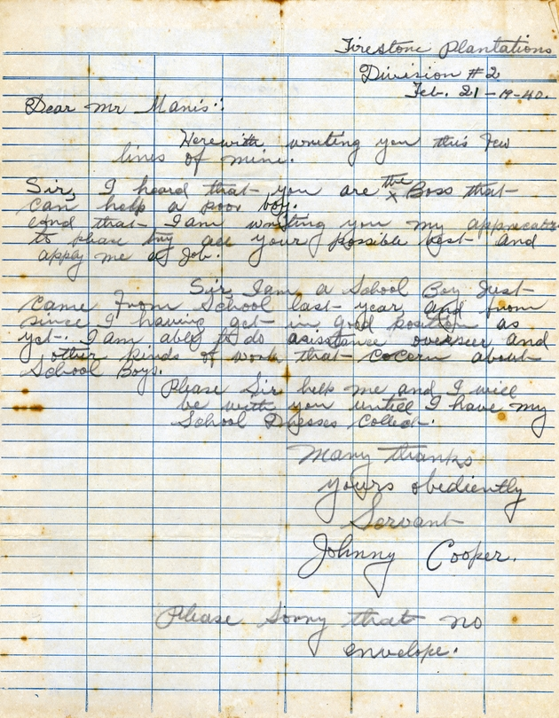 Ms. letter dated Feb. 21, 1940 to Manis from Johnny Cooper requesting work.