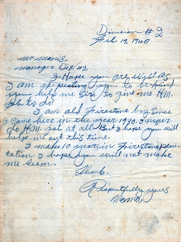 "Ms. letter dated Feb. 19, 1940 to Mr. Manis from ""Momo"" requesting a job."
