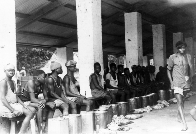 Photo: About 15 rubber tappers sitting on bench in front of tapping buckets at collection station.