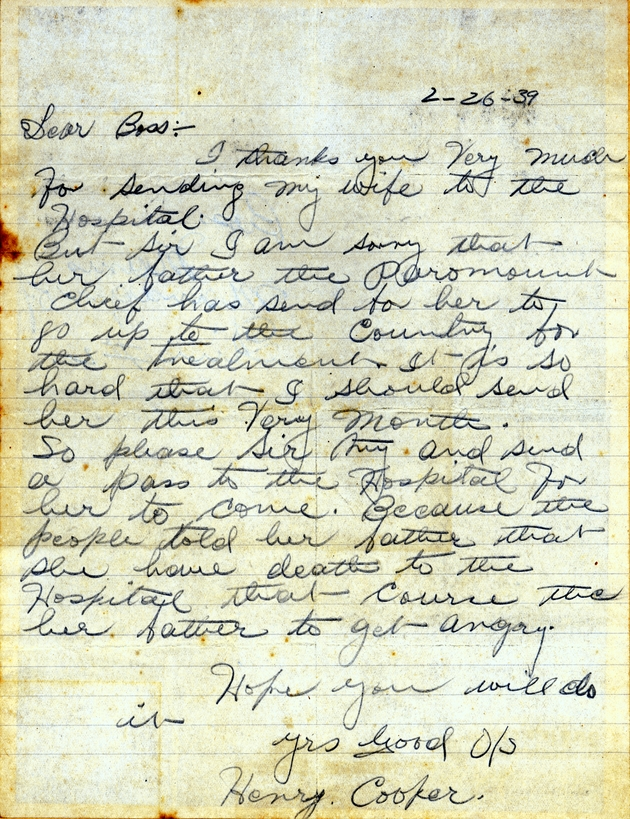 Ms. letter from Henry Cooper dated Feb. 26, 1939 (sic--must have been 1940), requesting a pass for his wife to leave the hospital and return home.
