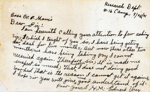 Ms. letter dated Sept. 26, 1941 to W.E. Manis from Edward Urey, regarding his pay.