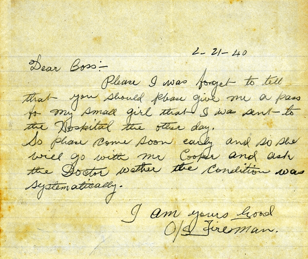 "Ms. Letter from ""Fireman"" requesting a hospital pass for his daughter, dated February 21, 1940."
