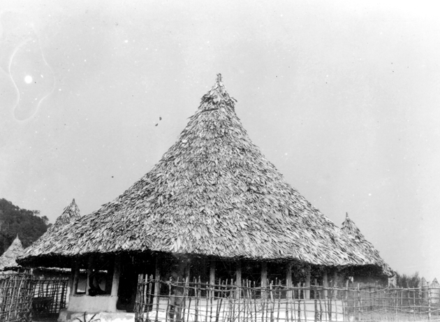"Photo: Several open, round, thatched buildings (palaver houses or ""plava huts""). These outbuildings or kitchens traditionally use ""river thatch."""