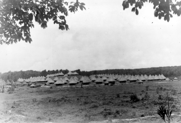 Photo: Eighty+ small round thatched houses on cleared hillside (possibly a Firestone plantation work camp?).