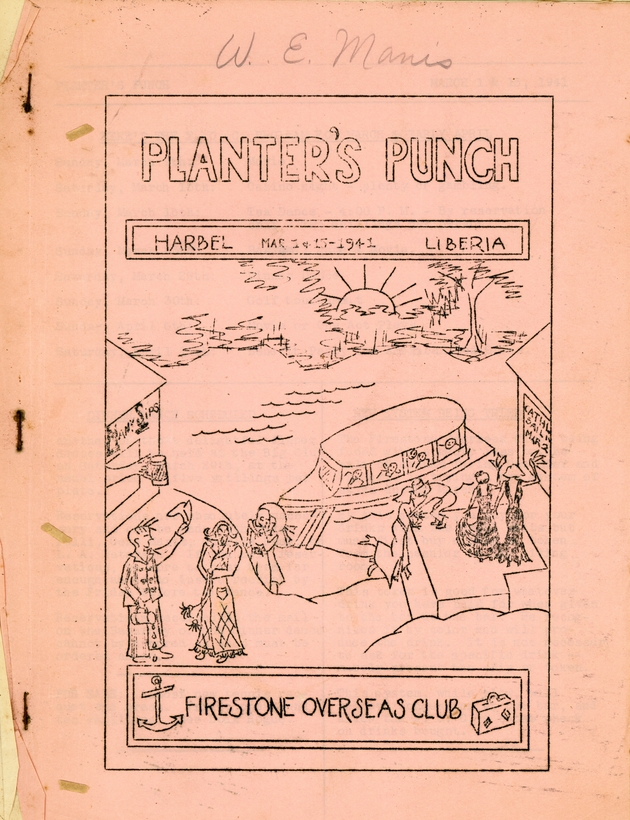 Planter's Punch, Firestone Overseas Club newsletter. Harbel, Liberia. Vol. 2, No. 4 (March 1 and 15, 1941). - Cover