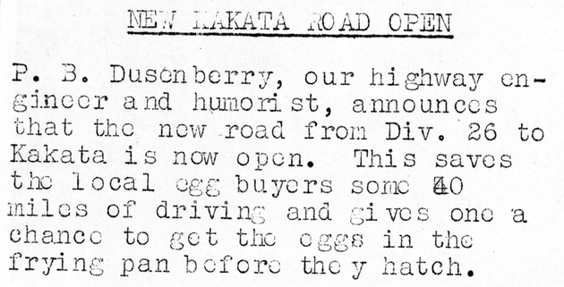 "Newsletter clipping: ""New Kakata Road Open"" from Division 26 to Kakata."