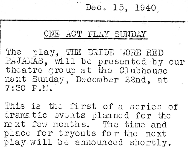 One act play Sunday. Dec. 15, 1940 newsletter clipping.