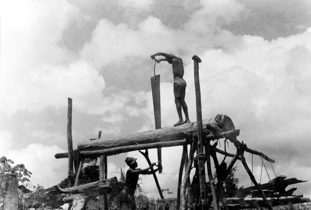 Photo: Two men use a large saw to cut a log set in a lashed wooden frame to allow saw to work vertically.