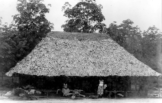 Photo: Large house with a thatched roof, with two women in front.