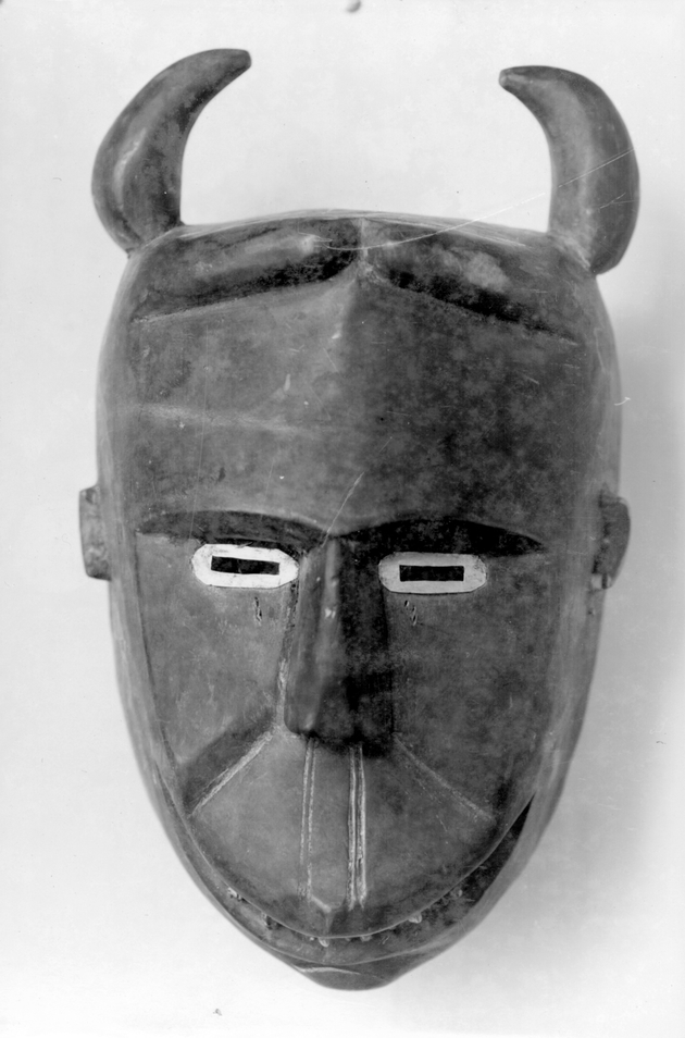 Photo: Mask 3. Figure with short curved horns.