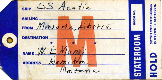 Luggage tag for stateroom passage on S. S. Acadia.