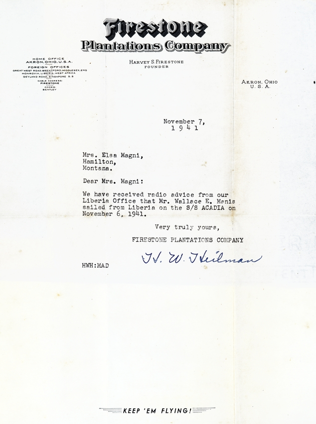 Typescript letter dated Nov. 7, 1941 to Mrs. Elsa Magni advising her that W.E. Manis sailed from Liberia on Nov. 6.
