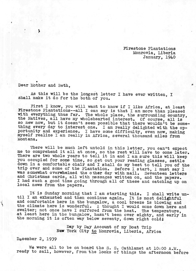 Transcribed letter that Manis wrote to his mother, Elsa Magni, and his sister, Beth, soon after arriving in Monrovia (22 pages, dated January 1940). - Page 1