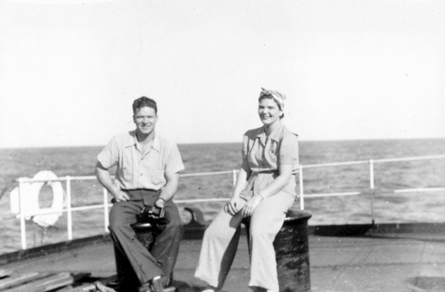 Photograph: Two passengers on board S.S. Cathlamet.