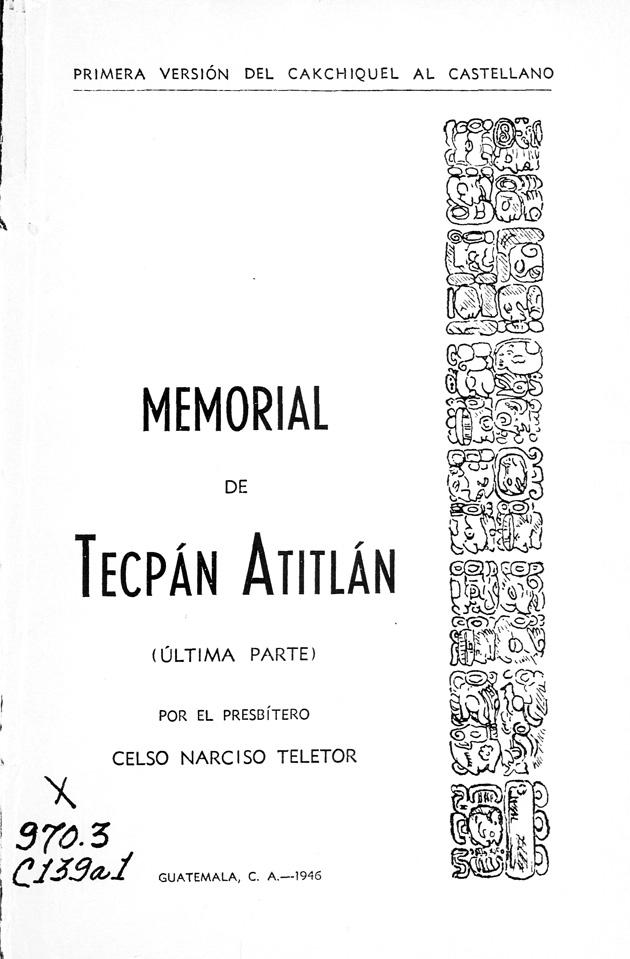 Memorial de Tecpán Atitlán - Front Cover