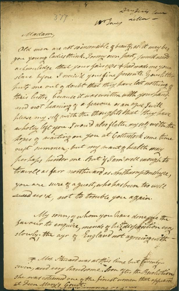John Dryden Letter to Elizabeth Steward - Page 1