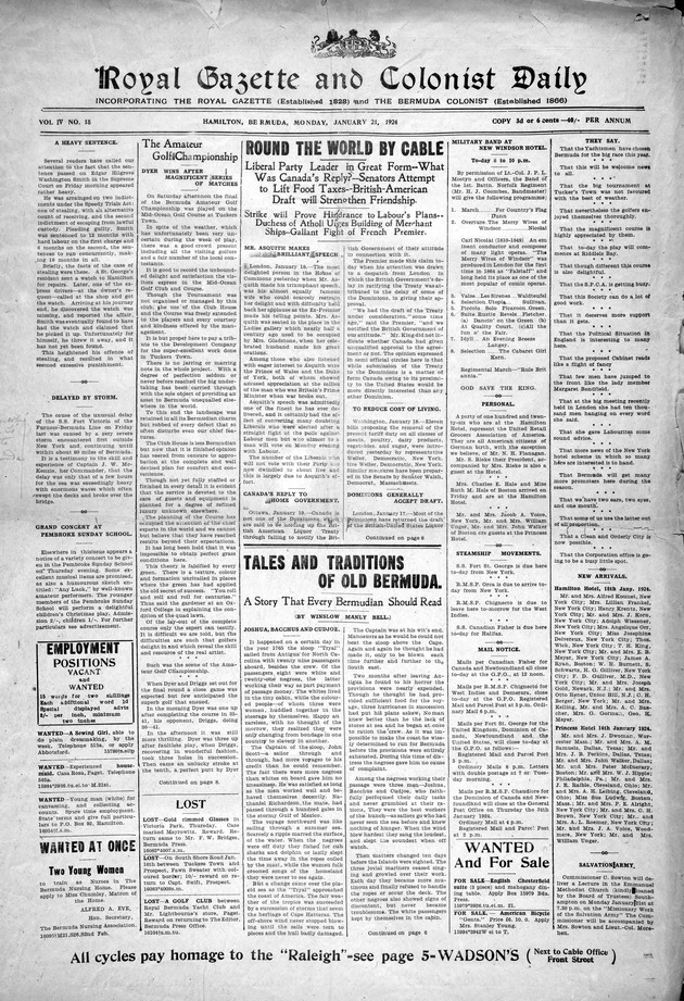 Royal gazette and colonist daily - Page 1