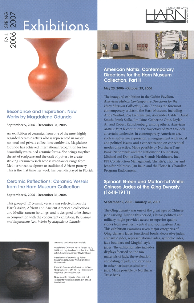 Harn Museum of Art Exhibitions : Fall 2006 - Spring 2007 - Page 1