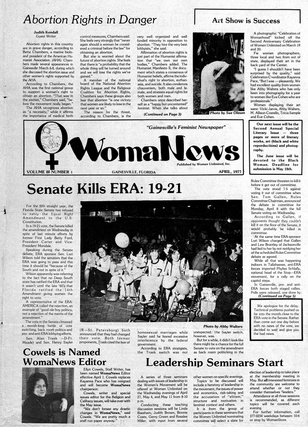 WomaNews : Gainesville's Feminist Newspaper. April 1977. - Cover