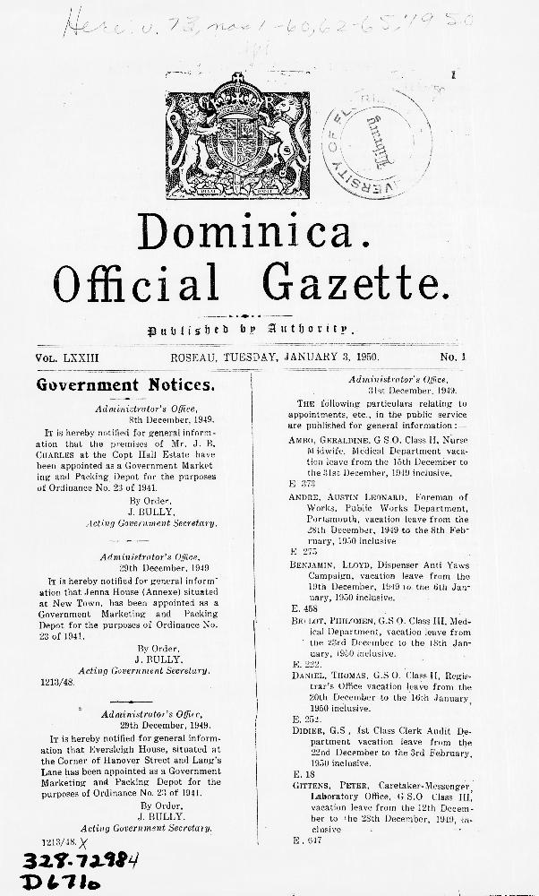 Official gazette - Dominica - Page 1
