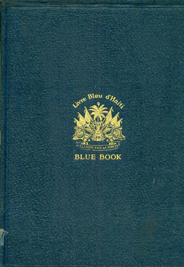Haïti, 1919-1920, livre bleu d'Haïti, blue book of Hayti - Front Cover 1