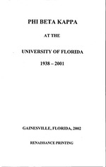 Phi Beta Kappa at the University of Florida, 1938-2001
