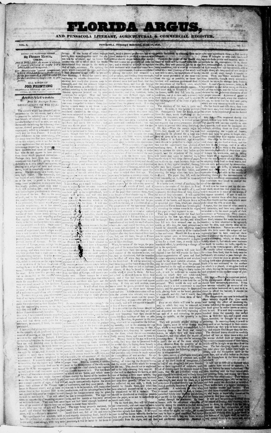 Florida Argus, and Pensacola literary, agricultural & commercial register - Page 1
