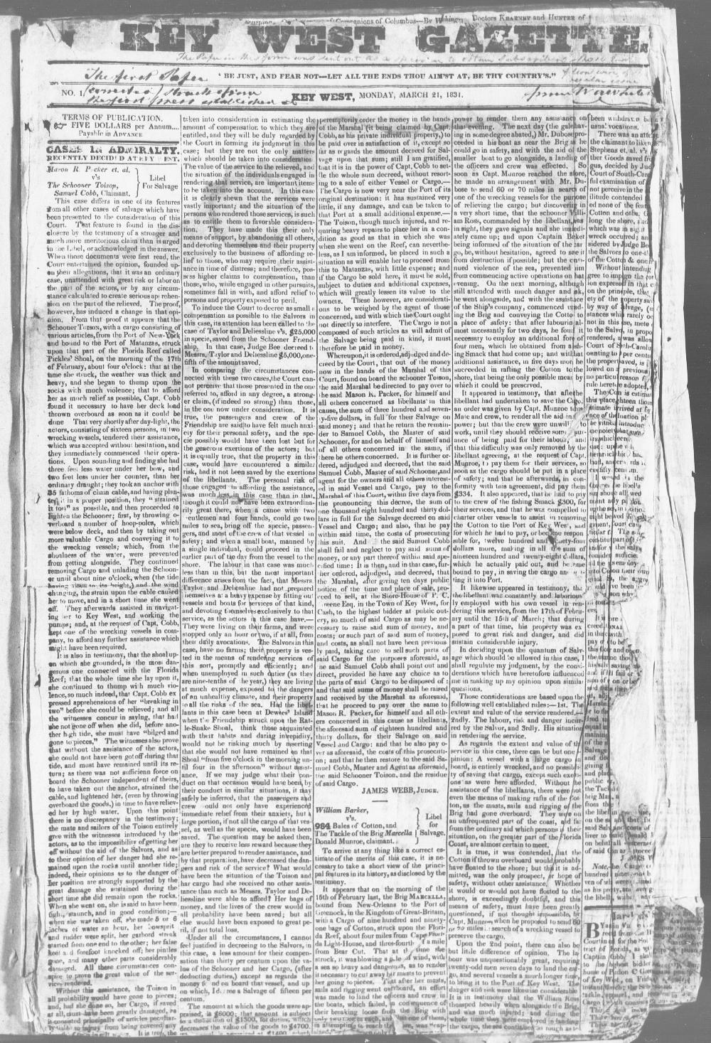 Key West gazette - Page 1