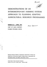 Demonstrations of an interdisciplinary farming systems approach to planning adaptive agricultural research programmes