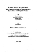 Gender issues in agriculture and natural resource management guidelines for project design